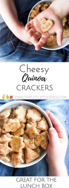 Cheesy Quinoa crackers. A great snack for kids, perfect for the lunch box.  via @hlittlefoodies