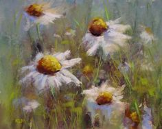 A New Daisy Painting 8x10 pastel -- Karen Margulis