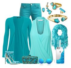 """""""Tellement Teal"""" by theranna ❤ liked on Polyvore featuring Alexis Bittar, Kate Spade, WearAll, LE3NO, Alexandre Birman, Ray-Ban and Casetify"""