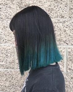 Black with Blue Dip Dye Hair - Straight Lob Hair Styles for Thick Hair