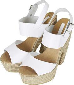 Topshop LEAP Espadrille Platform Sandals in White   Styloko.com