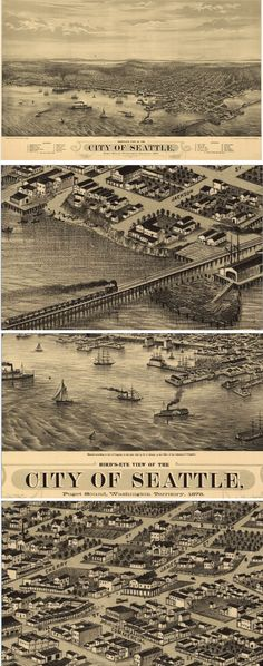 Home Decor - Gift Ideas - The detail on this antique wall map of Seattle, WA from 1878 is so intricate and interesting. Vintage wall maps look amazing in any home or office, and make great gifts too! Find it here http://www.mapsales.com/antique-wall-maps.aspx?flag=leftnav&utm_source=pinterest&utm_medium=pin&utm_campaign=caption