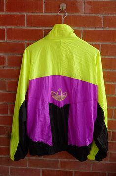 Rare Vintage ADIDAS Trefoil neon Windbreaker Ski Run Dmc Hip hop Style sweater Bomber Jacket Original