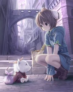 Anime Cat and Girl