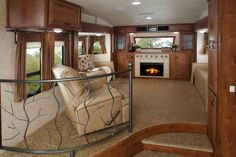 386FLR Living Room in Pinto Decor. Open Range living room... this is one of the RV models we are looking at...