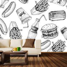 Wall Murals from WallsNeedLove Cafe Interior, Interior Walls, Interior Design, Flat Interior, Interior Ideas, Art Restaurant, Restaurant Design, Cafe Design, Store Design