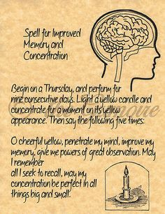 Improved Memory and Concentration, Psychic, Book of Shadows Pages, BOS Pages,