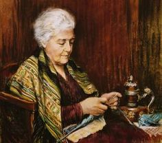 Grandma Knitting by Antonia Lanik-Gabanek