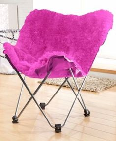 Adrian Faux Fur Butterfly Chair, Quick Ship - Pink