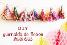 DIY para hacer esta guirnalda de flecos Boho Chic http://www.airedefiesta.com/content/1714/224/707/1/1/COMO-HACER-UNA-GUIRNALDA-DE-FLECOS-BOHO-CHIC.htm
