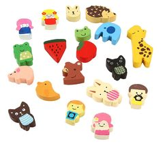 Umiwe(TM) Japanese Style Cute Cartoon Animal Wooden Painted Fridge Magnet (Random Pattern,Set of 19) With Umiwe Accessory: Amazon.co.uk: Large Appliances