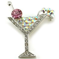 Party Cocktail Martini Glass Brooch Pin Red Clear Stone Crystal Silver Tone Soulbreezecollection. $9.99. Nickel and Lead Free / Lead Compliant. Condition: Brand New. Brooch Size: Approx 1.5 Inch Width x 1.6 Inch Length. Stone: Red Clear (Colors May Vary Due To Different Display Settings). Material: Rhodium Plated