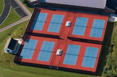 Commercial Tennis Court in Pacific Blue and California Red Sports Stadium, Tennis Clubs, Club Design, Pacific Blue, Solar, Commercial, California, Architecture, Outdoor Decor