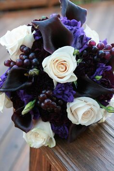 wedding bouquet with grapes | November Purple Wedding