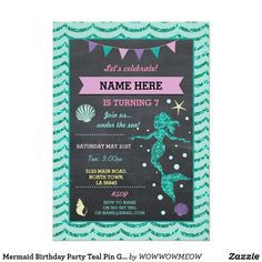 Mermaid Birthday Party Teal Pin Glitter Sea Invite Add your party information to this cute mermaid themed invite! Back print included. Fun birthday party invites - customize your invitations. Mermaid Party Invitations, 21st Birthday Invitations, Quinceanera Invitations, Invites, Glitter Birthday Parties, Mermaid Theme Birthday, Cute Mermaid, Teal, Party Supplies
