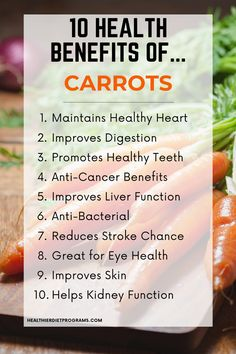10 Healthy Reasons to add Carrots to your Diet. Carrot Health Benefits from Healthier Diet Programs. Health Benefits Of Carrots, Carrot Benefits, Vegetable Benefits, Health Facts, Health Diet, Health And Nutrition, Health And Wellness, Carrots Healthy, Diabetes