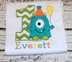 Monster Birthday Shirt. This adorable design features your childs age with a sweet monster holding a balloon. Made with aqua, lime, yellow, and