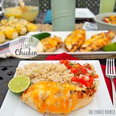 FIESTA LIME CHICKEN (Applebee's Copycat Recipe) is our favorite easy grilled Summer meal! This Lime Chicken is served on a bed of Mexican rice and topped with lime ranch, pico de gallo, and tortilla strips. Fiesta Lime Chicken Applebees, Tequila Lime Chicken, Quesadillas, Tex Mex, Burritos, Enchiladas, Great Recipes, Favorite Recipes, Summer Recipes