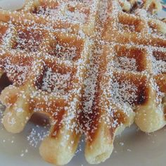 "Funnel Cake Waffles | ""These waffles are so light and crispy right off the griddle, they're just like fresh funnel cakes....but with so much less guilt! """