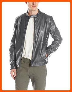 Calvin Klein Men's Faux Leather Jacket, Gray, Large - Mens world (*Amazon Partner-Link)