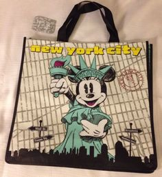 Minnie Mouse NYC Statue of Liberty Bag Eco Shopper Tote Disney NWT Reusable Mint