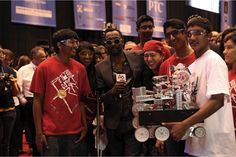 Battles of the Bots: Hands-on STEM is the Newest School Sport! Grammy-winning artist, will.i.am (a big supporter of robotics competitions) with the 2015 winning team at FIRST.