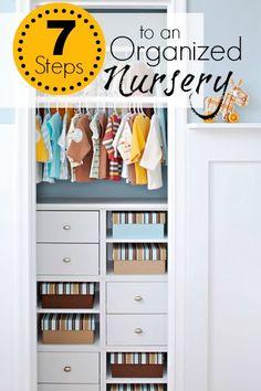 7 Steps to an Organized Nursery | Tipsaholic.com #home #organization #baby #nursery #storage