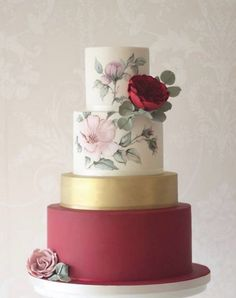 Wedding cake idea; Featured: Curtis and Co Cakes / painted wedding cakes / for more, visit equallywed.com #weddingcakes