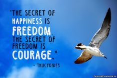 """A peaceful bird image with the Thucydides quote: """"The secret to happiness is freedom, and the secret to freedom is courage."""""""