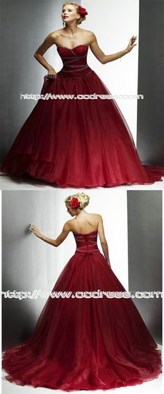 Dramatic Sweetheart Ball Gown Outdoor Organze Wedding Dresses, long outdoor ball gown, red sweetheart wedding dresses.