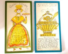 """This is a set of vintage two hand painted print designs wall decor from 1965 by Jacque"""", one in green frame is a lovely women in a dress and bonnet holding a quiche lorriane pie and other one in blue frame is status stew. Then the entire recipes are both below. Both in the lower left hand corner they have the copyright date of 1965 and in the right hand corner the name of the artist. Back also have a wall mount and the stickers that read: Hand painted designs by Jacque (of Vero Beach, Fla.)…"""