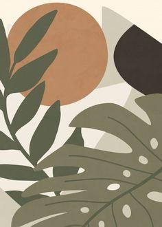 Quadro Decorativo - COMPOSITION OF TROPICAL LEAVES I