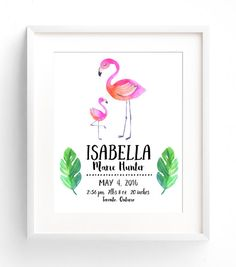 Custom Flamingo Nursery Decor Print. Birth Stat Wall Art. Adorable…