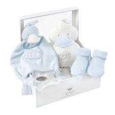 Geschenkbox Ente blau - BAMBAM -Inhalt: Plüschtier, Strümpfe, Schmusetuch, Beißring  - Farbe: blau  - in Geschenkverpackung