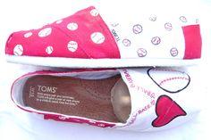 The Baller - Red and White Custom TOMS., via Etsy.