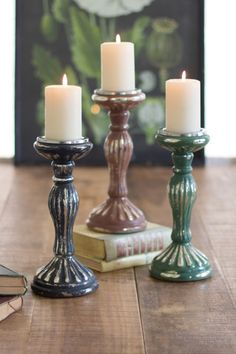Kalalou Pillar Candle Stands - Set Of 3 - Kalalou Pillar Candle Stands - Grey, Teal , Copper - Set Of 3 are very classy. These pillar candle stands in colors of grey, teal and copper take you to a different era altogether. These shapely and clean limbed candle stands are unique in color and striking, whether placed on their own or grouped together. These pillar candle stands create a contemporary perch for your lovely candle collection.