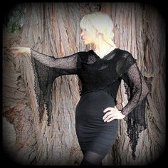 Witchy Morticia Wrap Sweater  long pointed by TalismanaDesigns