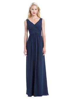 Chiffon V-Neck Sleeveless Gown with Criss-Cross Pleated Bodice   Bill Levkoff 1162   http://trib.al/74gfvTR