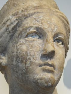Marble head of a goddess Greek Hellenistic 2nd or 1st century BCE