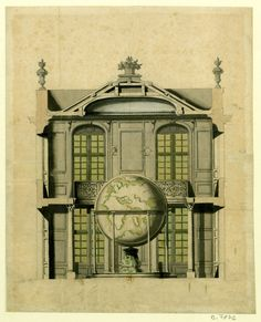 990a0baf4ee20 Robert de Cotte's rendering for a pavilion containing one of the Coronelli  Globes Architektonické Kresby,