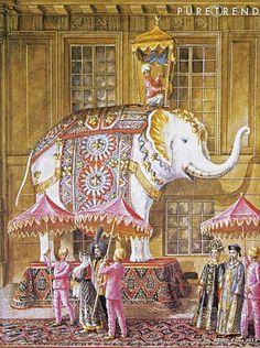 Baron Alexis de Rede's Le Bal Oriental in 1969. Watercolor by Alexandre Serebriakoff.