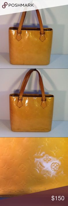 Authentic Louis Vuitton Vernis  Houston Yellow Bag Sone stains are in the bag. The straps showed signs of used. The bag was made in Spain with a date code LM 0080. The dimensions 11, 10 and 6. The color is between yellow and orange. Louis Vuitton Bags Shoulder Bags