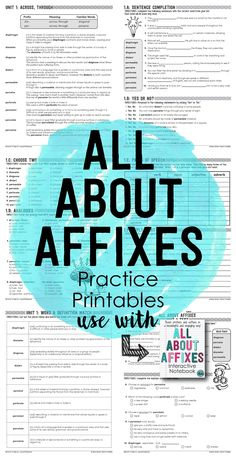 All About Affixed Practice Printables. Over 360 pages of prefix and suffix printables and activities. Teaching Vocabulary, Teaching Resources, Teaching Ideas, Vocabulary Building, Grammar Lessons, Writing Lessons, Reading Lessons, Word Study, Word Work