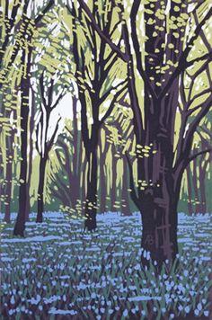 Buy Stoke Wood Bluebells, Linocut by Alexandra Buckle on Artfinder. Woodcut Art, Linocut Prints, Art Prints, Block Prints, Tag Art, Jackson's Art, Art Graphique, Wood Engraving, Print Artist