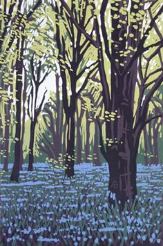 Stoke Wood Bluebells - linocut - Alexandra Buckle, U.K.