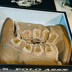U.S. Polo Boots Tan boots lined with fur. Gently used. Worn few times. Too warm where I live for fur lined boots. Super cute. U.S. Polo Assn. Shoes Winter & Rain Boots
