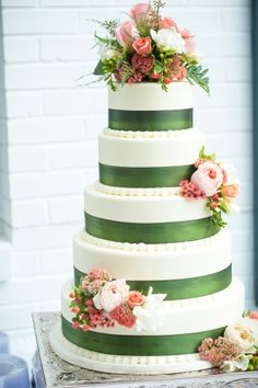 Four-Tiered Wedding Cake with Green and Pink Floral Accents by Fletcher & Fletcher Photography | Two Bright Lights :: Blog