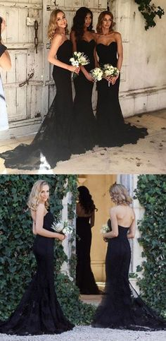Black Sexy Mermaid Sweetheart Lace Long Bridesmaid Dresses, WG429