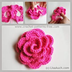 Free Crochet Flower Pattern How to crochet a rose. This is very beautiful but easy crochet rose flower pattern, makes an excellent cr. Crochet Flower Headbands, Crochet Roses, Knitted Flowers, Modern Crochet Patterns, Crochet Flower Patterns, Crochet Designs, Crochet Stone, Crochet Neck Warmer, Easter Crochet