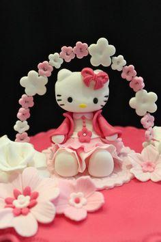 Love the flowers on the wire Birthday Cakes For Teens, Cupcake Birthday Cake, Cupcake Cookies, Cupcakes, Hello Kitty Fondant, Hello Kitty Cake, Sanrio Hello Kitty, Marzipan, Girly Cakes